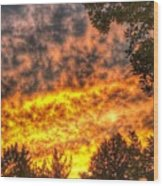 Clouds And Sunset  Wood Print