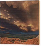 Clouds And Thunderstorm Bryce Canyon National Park  Wood Print