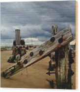Clouds And Wooden Structure Wood Print