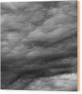 Clouds At Dusk Bw  Wood Print