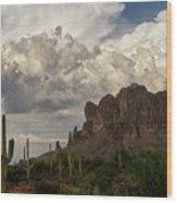 Clouds Bubbling Over The Superstitions  Wood Print