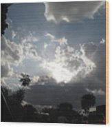 Clouds Buildup Wood Print