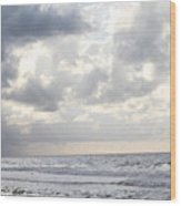 Clouds By The Sea Wood Print