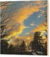 Clouds Catching The Evening Light Wood Print