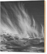 Clouds - Flame Shape - Black And White Wood Print