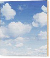 Clouds In Blue Sky Wood Print