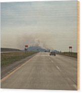Clouds Of Smoke Billowing Off Spearfish Wood Print