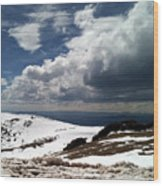 Clouds On The Mountain Wood Print