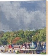 Clouds Over Boathouse Row Wood Print