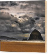 Clouds Over Cannon Beach Wood Print