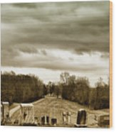 Clouds Over Cemetery Wood Print