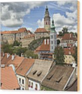 Clouds Over Cesky Krumlov Wood Print