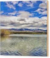 Clouds Over Distant Mountains Wood Print