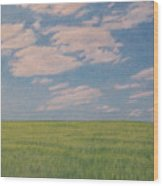 Clouds Over Green Field Wood Print