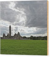 Clouds Over Kilmacduagh Abbey Wood Print