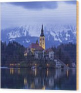 Clouds Over Lake Bled Wood Print