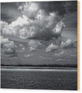 Clouds Over Masonboro Island In Black And White Wood Print