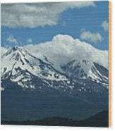 Clouds Over Mt Shasta Wood Print