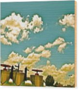 Clouds Over Oil Field Equipent Wood Print