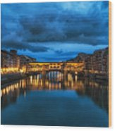 Clouds Over Ponte Vecchio Wood Print