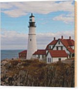 Clouds Over Portland Head Lighthouse 3 Wood Print