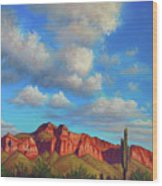 Clouds Over Superstitions Wood Print