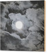 Clouds Over The Moon Wood Print