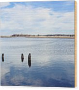Clouds Over The Mullica River Wood Print