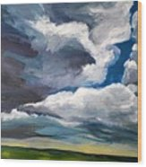 Clouds Over The Prairie Wood Print