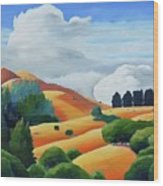 Clouds Over Windy Hill Wood Print