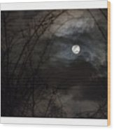 Clouds Passing The Snow Moon Wood Print