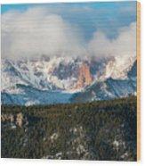 Clouds Receding On Pikes Peak Wood Print