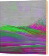 Clouds Rolling In Abstract Landscape Purple And Hot Pink Wood Print