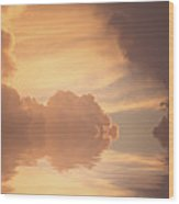Clouds With Reflections Wood Print