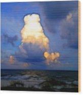 Cloudy Beach Wood Print