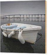 Cloudy Coronado Island Boat Wood Print