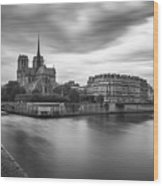 Cloudy Day On The Seine Wood Print