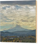 Cloudy Day Over Mount Hood At Hood River Oregon Wood Print