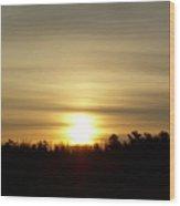 Cloudy Golden Sky At Dawn Wood Print