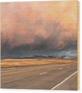Cloudy Highway Wood Print