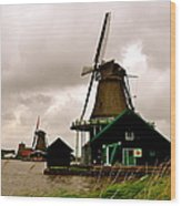 Cloudy Holland Wood Print