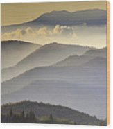Cloudy Layers On The Blue Ridge Parkway - Nc Sunrise Scene Wood Print by Rob Travis