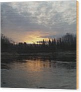 Cloudy Mississippi River Sunrise Wood Print