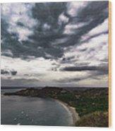 Cloudy Ocean View Wood Print