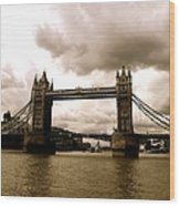 Cloudy Over Tower Bridge Wood Print
