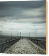 Cloudy Pier Wood Print