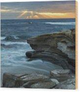 Cloudy Sunset At La Jolla Shores Beach Wood Print
