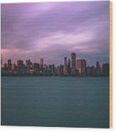 Cloudy Sunset Chicago Skyline Wood Print