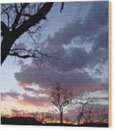 Cloudy Sunset One Wood Print