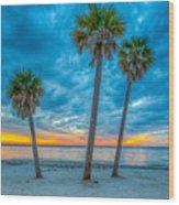 Cloudy Sunset -tampa, Florida Wood Print